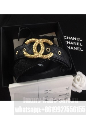 Chanel Quilted Grained Calfskin Belt 3cm with Metallic CC Buckle Black  2021 Collection