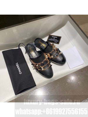 Chanel Charm Embellished Mules Lambskin Leather Spring/Summer 2021 Collection, Black