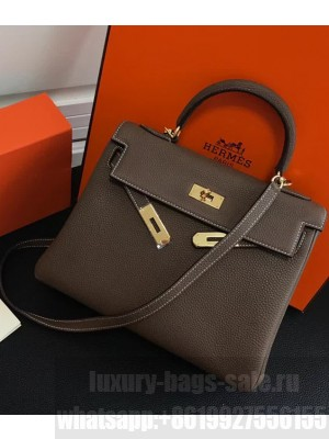 Hermes Kelly 25 Bag in Calf Leather with Gold Hardware Grey Elephant