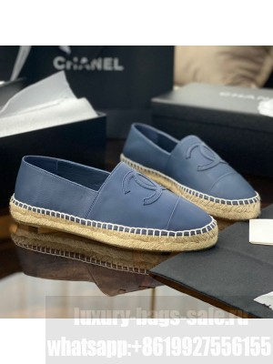 Chanel CC Shiny Lambskin Espadrilles Blue Spring/Summer 2021 Collection 55