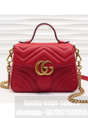 Gucci GG Marmont Leather Mini Top Handle Bag 547260 Red 2019 Collection