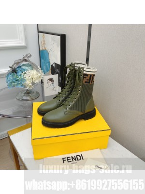 Fendi Rockoko combat boots with stretch fabric inserts 013 Green 2021 Collection