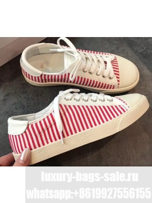 Celine Blank Low Lace Up Sneakers in Canvas and Calfskin Stripe Red 2020