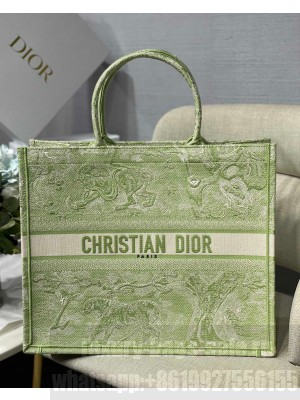 Dior Large Book Tote Bag in Green Toile de Jouy Reverse Embroidery  2021 Collection