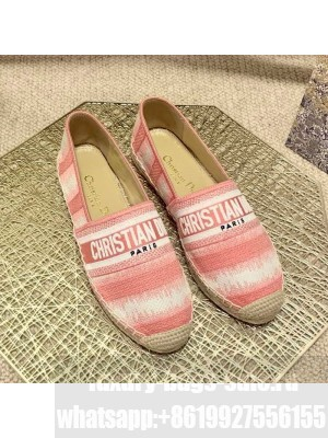 Dior Granville Espadrilles in Pink D-Stripes Embroidered Cotton Spring/Summer 2021 Collection