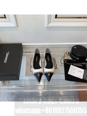 Chanel sheepskin Chain Pointed Flat White & Black 2021 Collection