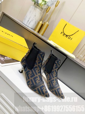 Fendi 5.5cm Brown/Blue fabric Ankle Boot 2021 Collection