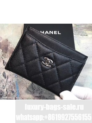 Chanel Caviar Leather Classic Card Holder A31510 Black