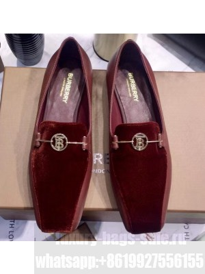 Burberry Monogram Motif Leather Loafers Suede Burgundy 2020
