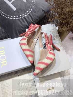 Dior J'Adior Slingback Pumps 9.5cm in Pink D-Stripes Embroidery 2021 Collection
