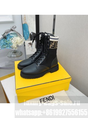 Fendi Rockoko combat boots with stretch fabric inserts 016 Black 2021 Collection