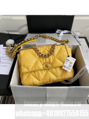 Chanel Sequin 19 Bag 26cm Calfskin Leather Gold Hardware Cruise 2021 Seasonal Collection, Yellow