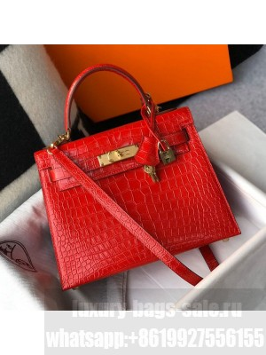 Hermes Kelly 25/28cm in Crocodile Embossed Calf Leather Red/Gold 2019 (Half Handmade) Collection