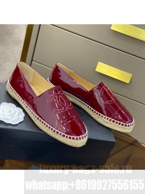 Chanel CC Patent Leather Espadrilles Burgundy Spring/Summer 2021 Collection 57