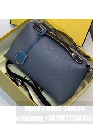 Fendi Grained Leather By The Way Medium Boston Bag Baby Blue