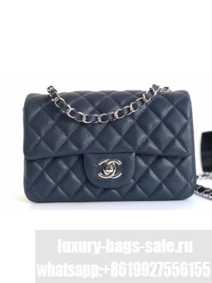Chanel Caviar Leather Small Classic Flap Bag A1116 Navy Blue/Silver