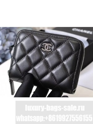 Chanel Classic Small Zipped Card Holder 60086 Lambskin Black/Silver