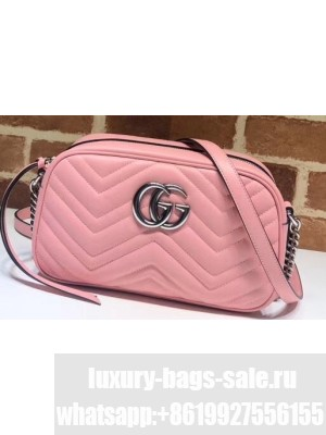 Gucci Leather GG Marmont Small Shoulder Camera Bag 447632 Pastel Pink 2020