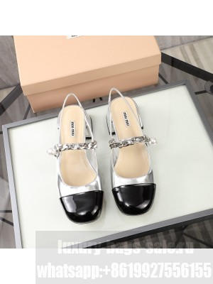 MIU MIU LEATHER Slingback Strap with chain and button 40 mm heel Silver/Black