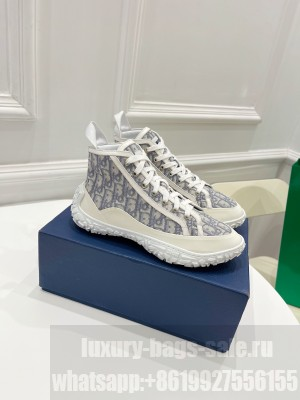 Chrisian Dior Unisex B28 HIGH-TOP SNEAKER Grey Dior Oblique Jacquard and White Rubber 2021 Collection