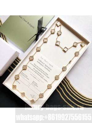Van Cleef & Arpels Clovers Long Necklace White 27 2020 Collection