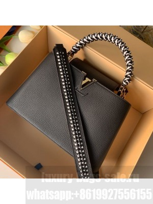 Louis Vuitton Capucines PM with Braided Handle M55083 Black/White 2019 Collection