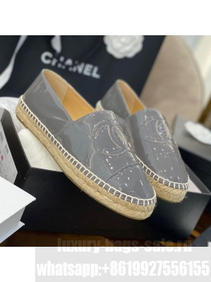 Chanel CC Patent Leather Espadrilles Gray Spring/Summer 2021 Collection 59