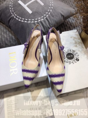 Dior J'Adior Slingback Pumps 6.5cm in Purple D-Stripes Embroidery 2021 Collection
