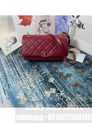 Chanel Flap Bag 25CM AS2319 Lambskin Leather Lacquer Hardware Cruise 2021 Seasonal Collection, Burgundy