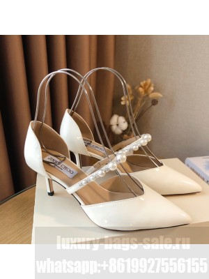 Jimmy Choo White patent leather 6.5cm Pumps with Pearl Embellishment 2021 Collection