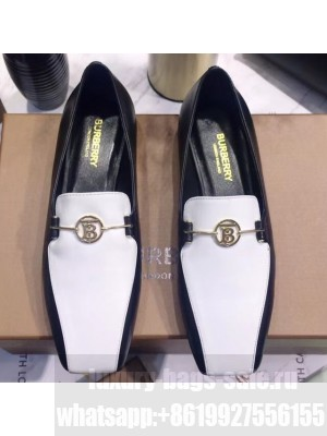 Burberry Monogram Motif Leather Loafers White/Black 2020