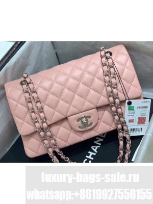 Chanel Original Quality Medium Classic Flap Bag 1112 in Sheepskin Nude Pink with Silver Hardware