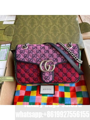 Gucci GG Marmont multicolor small shoulder bag 443497 Pink&green&yellow&red