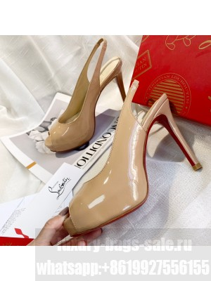 Christian Louboutin Patent Leather Peep-toe Platform Pumps Nude 2021 Collection