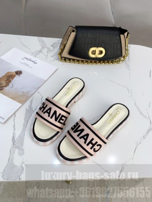 Chanel logo slippers in Canvas with leather 30mm Spring/Summer 2021 Collection Pink