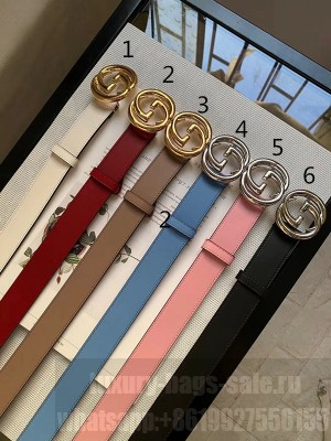 Gucci Calfskin Belt 30mm with Interlocking Shiny G Buckle 2020 Collection