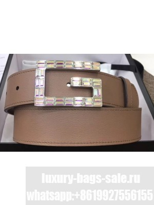Gucci Width 3.5cm Leather Belt Nude with Crystals Square G Buckle