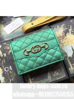 Gucci Laminated Leather Card Case 536353 Green