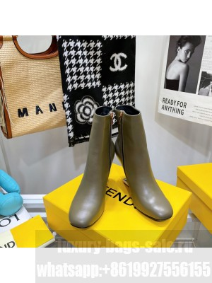 FENDI FIRST Gray leather high-heeled boots 2021 Collection