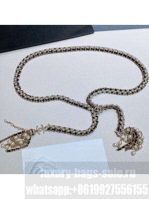 Chanel Pearl Chain Tassel Belt AB5186  2021 Collection