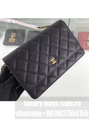 Chanel Caviar Leather Wallet On Chain WOC Bag A33814 Black 2019