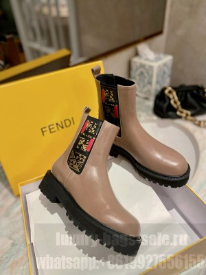 Fendi Force Calfskin Ankle Boots Brown/Multicolor  2021 Collection