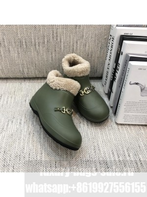 GUCCI 627890 Women's ankle boot with Horsebit Wool lining 2021 Collection Green