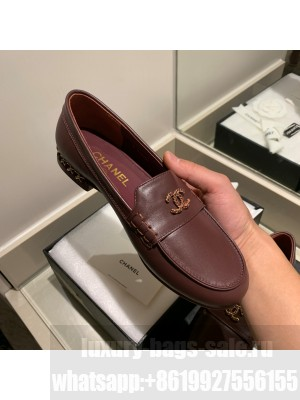 Chanel Calfskin Burgundy Loafers G35067 2021 Collection