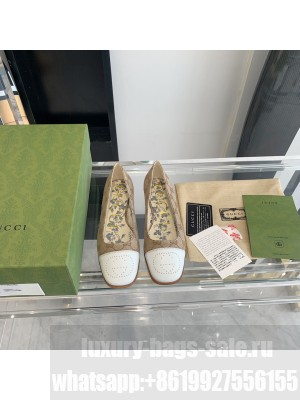 Gucci ballet flat with Interlocking G Cavas with White Leather tip 2021 Collection