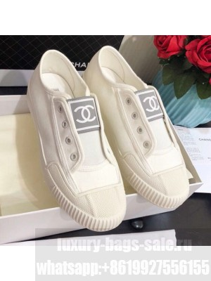 Chanel CC Patch Canvas Sneakers CCS04 White Spring/Summer 2021 Collection