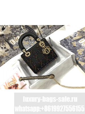 Dior Lady Dior Mini Bag With Crystals Black  2021 Collection