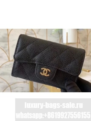Chanel Classic Small Card Holder AP0214 Grained Calfskin Black/Gold