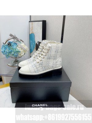 Chanel Lace Up Tweed & Calfskin White 07 2021 Collection