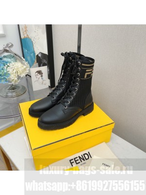 Fendi Rockoko combat boots with stretch fabric inserts 014 black 2021 Collection